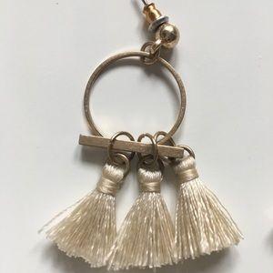 Lulu dangle tassel cream earrings